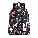 High Quality Navy Style Printing Backpack Women Canvas Bag Student Backpacks