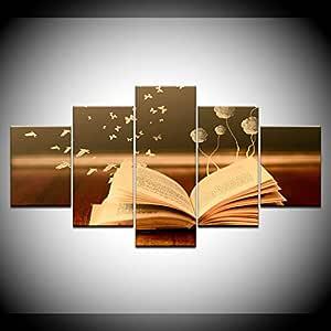 FYZKAY Cuadro en Lienzo 5 Partes Flores románticas Libro