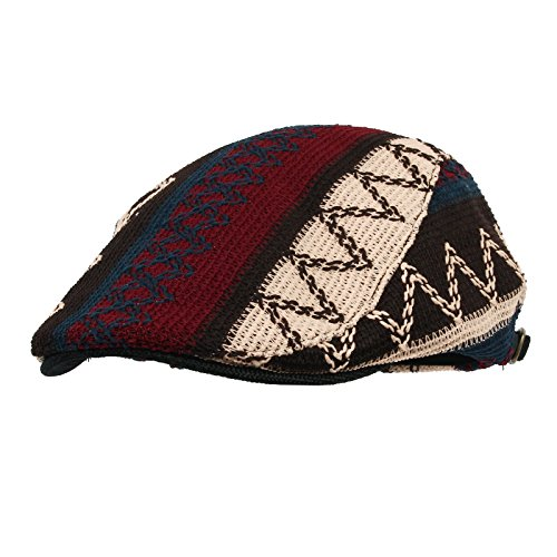 Knitted Cap Pattern (WITHMOONS Aztec Tribal Pattern Knitted newsboy Hat Flat Cap LD3030 (Black))
