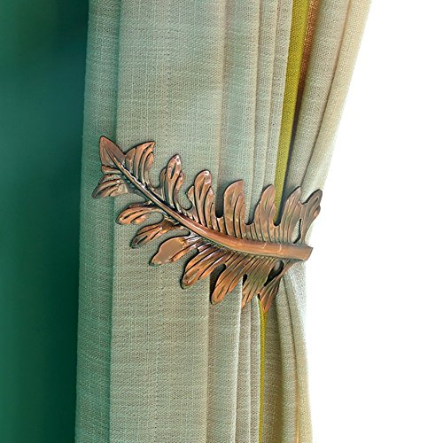 Chictie European Leaf Curtain Holdbacks Decorative Wall Hooks Hanger for Drapes Linen Holder Window Treatment Hardware,Set of 2 (Copper) (Leaf Holdback)