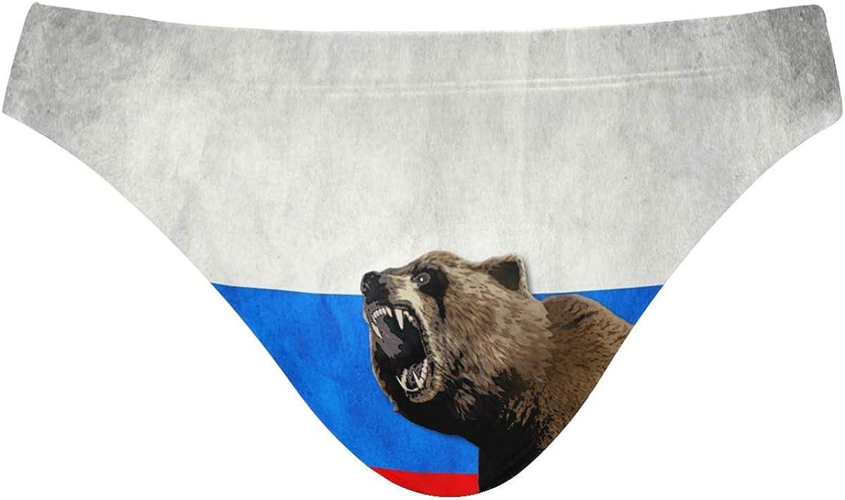THONFIRE Mens Swim Briefs Trunk Russian Bear Athletic Swimsuit Beach Shorts Board Triangle Bikini Swimwear