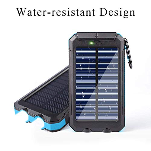 Ayyie Solar Charger,10000mAh Solar Power Bank Portable External Backup  Battery Pack Dual USB Solar Phone Charger with 2LED Light Carabiner and  Compass