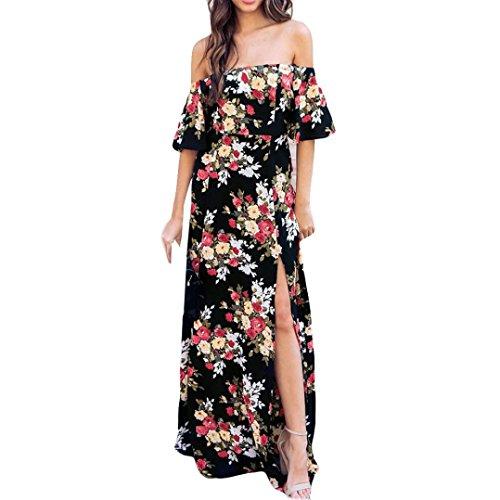 FZZ698 Plus Size Women Bohemian Summer Beach Floor Length Dress, Off Shoulder Retro Floral Print Long Dress (XXL)