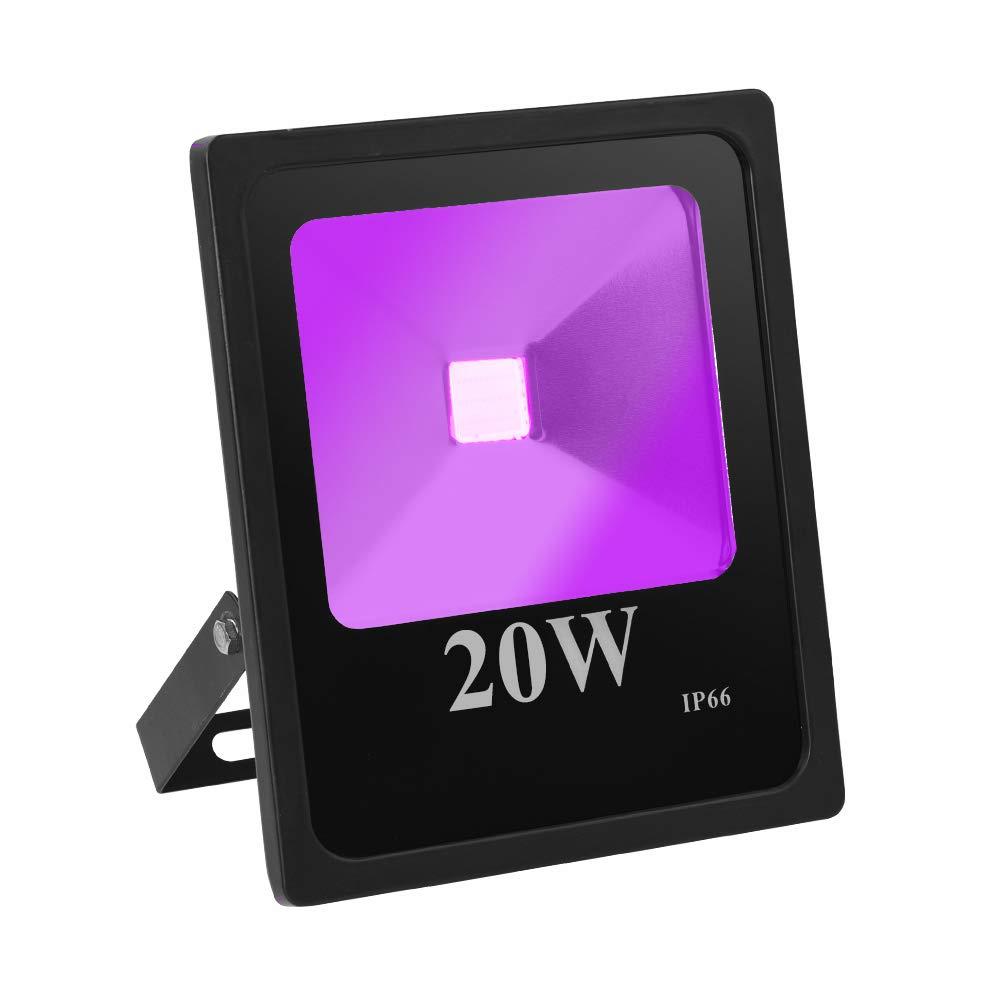 anjoet紫外線ブラックライト高電源ip66防水UV LEDフラッドライトボディペイント、蛍光ポスターグローin theダークパーティー用品、釣り、硬化、水族館、with USプラグ 7.28×6.1×1.89 inches B07DL8JDBZ  20.0 Watts