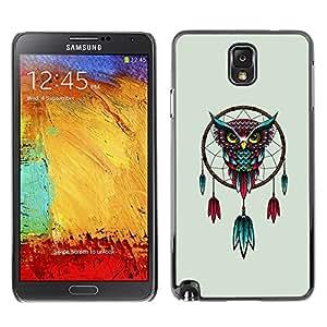 """For Samsung Note 3 N9000 , S-type Hermosa receptor rojo y azul místico Búho sueño"""" - Arte & diseño plástico duro Fundas Cover Cubre Hard Case Cover"""