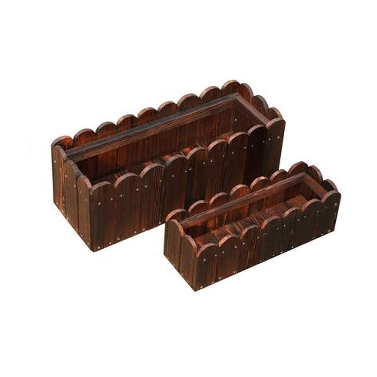 植木鉢、木製長方形窓枠木製紳士バルコニー植木鉢屋外植栽ボックス炭化固体植木鉢木製花トラフ(1パック) (Color : Brown, Size : 80*40*30cm) B07RW7X2JW Brown 80*40*30cm