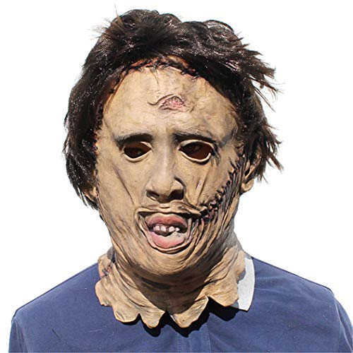 Halloween Novelty Mask Scary Halloween Costume Mask Cosplay Party Props Mask Creepy Latex Head Mask for Men (Texas Chainsaw Massacre)]()