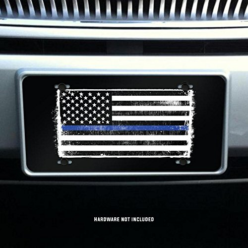Thin Blue Line Rustic Flag Vanity Front License Plate Tag Printed Full Color KCFP032