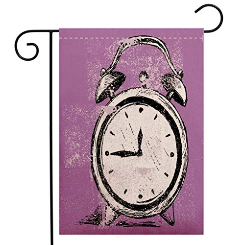 BEIVIVI Creative Home Garden Flag Doodle Retro Alarm Clock Figure with Grunge Effects Classic Vintage Sleep Graphic Purple White Black Garden Flag Waterproof for Party Holiday Home Garden Decor