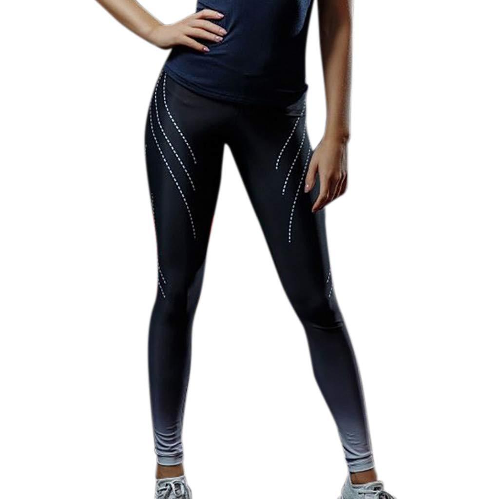 iLUGU Womens Print Workout Denim Pants Leggings Fitness Sports Yoga Gym Running Yoga Work Out Athletic Black