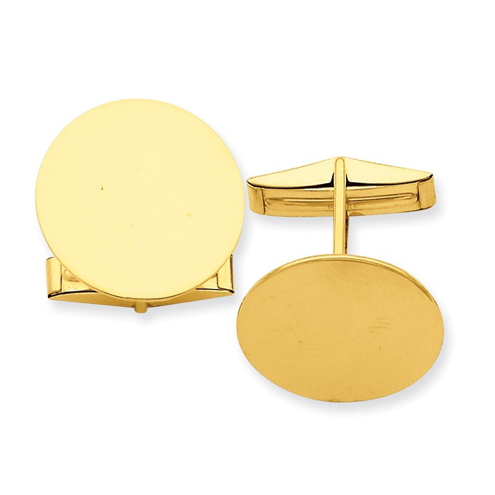 14k Solid Yellow Gold Circular Cuff Links
