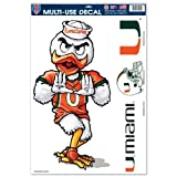 Miami Hurricanes Official NCAA 11 inch x 17 inch Car Window Cling Decal by Wincraft