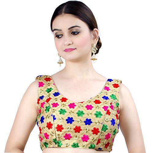 (Chandrakala Women's Designer Bollywood Readymade MultiGold Indian Ethnic Saree Blouse Padded Brocade Choli-Large (B121MUL4) )