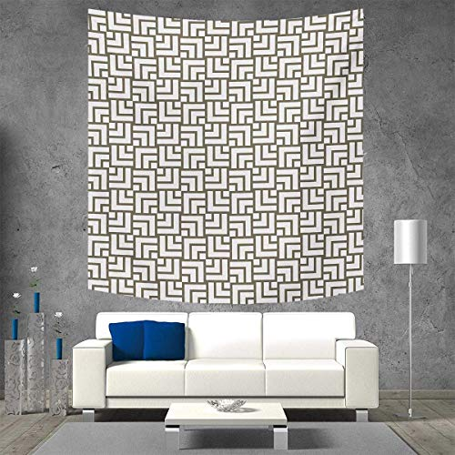 Anniutwo Modern Square Wall Tapestry Mysterious Vintage Maze Modern Shape in Squares Lines Work of Art Print Home Decorations for Living Room Bedroom 55W x 55L Inch Sage Green and White