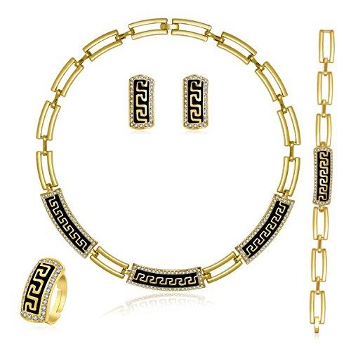 MOOCHI Women's Gold Plated Black Wall Pattern Rhinestone Chain Necklace Earrings Bracelet Ring Jewelry Sets ()
