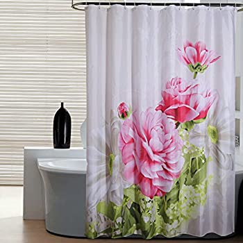 HOMEIDEAS Shower Curtain With Hooks,Mildew Resistant Polyester  Fabric,Waterproof/Water Repellent
