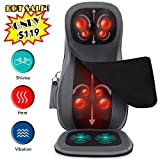Naipo Shiatsu Neck & Back Massager with Heat, Adjustable Full Back Kneading Shiatsu or Rolling Massage Chair Massage Chair Pad for Neck and Back Hip, Relieve Muscle Pain for Back Shoulder Neck Hip