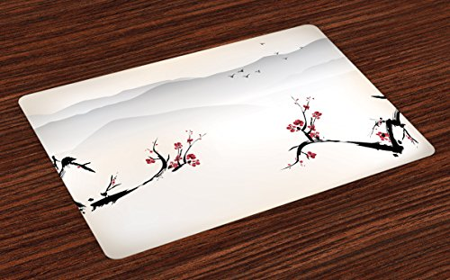 Ambesonne Asian Place Mats Set of 4, Japanese Nature Landscape National Sakura Flower Over Himalayas and Flying Gulls, Washable Fabric Placemats for Dining Room Kitchen Table Decor, Beige Red ()