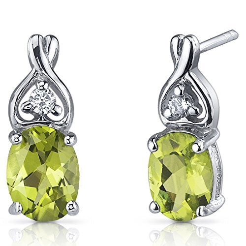Peridot Earrings Sterling Silver Rhodium Nickel Finish 2.50 Carats Classic Style by Peora