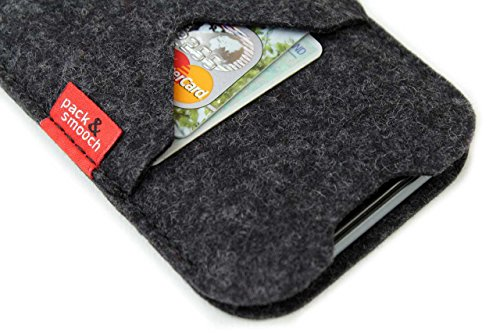 "Pack & Smooch Shetland iPhone X (5.8"") Cover Case made with 100% Merino Wool Felt and Natural Vegetable Tanned Leather - Dark Grey by Pack & Smooch (Image #1)"
