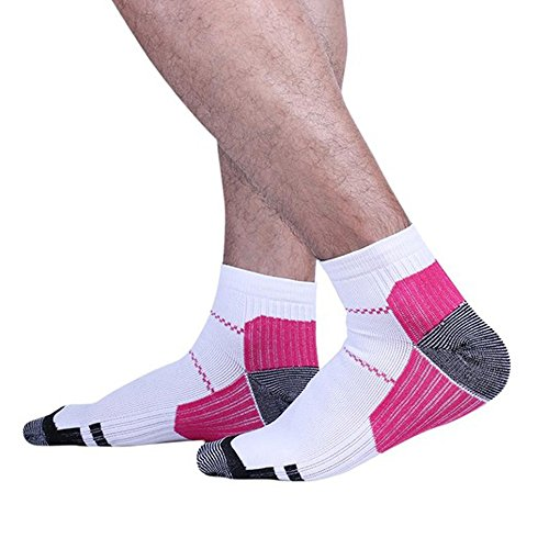 Price comparison product image Plantar Fasciitis Socks 2 Pair Heel Pain Foot Pain Relief Arch Support Running Gym Compression Foot Socks & Low Cut Foot Sleeves Free Eyeglass Pouch (Large,  White / Hot Pink)