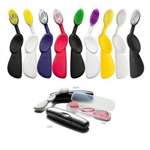 Radius Toothbrush Bundle - 1 Scuba RIGHT Toothbrush + 1 Travel Case [Colors May Vary] (Radius Scuba Toothbrush)