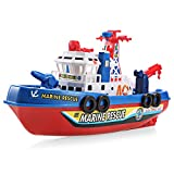 BISZOER Electric Marine Rescue Fire Boat with High Speed Music Flash Lights Water Spraying Ship Model Non-Remote for Toddler Kids