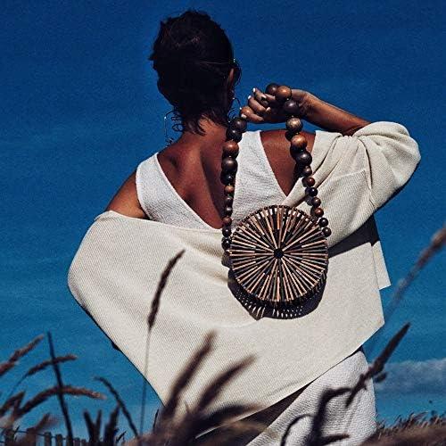 WINPSHENG-Borse Mixed Vivacità bambù Cestino della Paglia Scavato out Borse della Spiaggia di Estate Spalla Borsa for Le Vacanze originative personalità Woven Bag Rotonda
