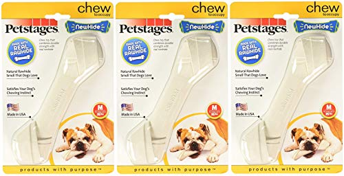 Petstages 3 Pack of NewHide Dog Chew Toys, Medium, Made in The USA