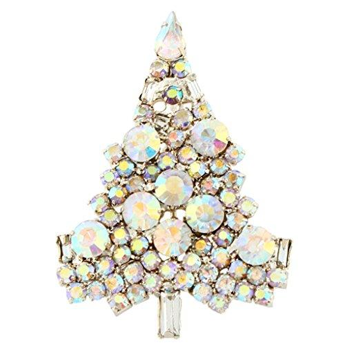 Ab Rhinestone Brooch (EVER FAITH Art Deco Wishing Tree Brooch Iridescent Clear AB Austrian Crystal Gold-Tone)