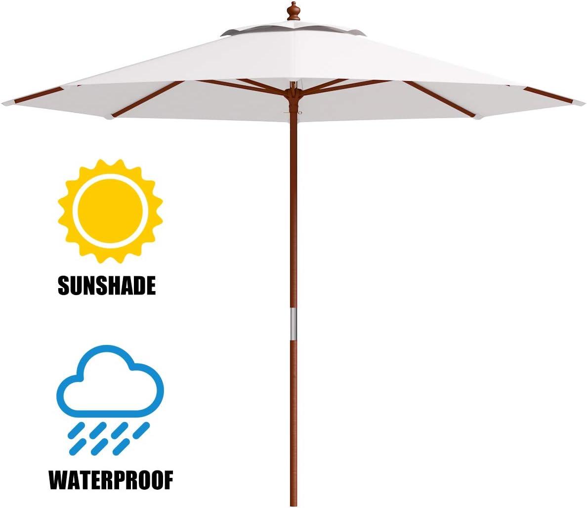 Tangkula Patio Umbrella Height Adjustable Wood Pole Outdoor Sun Shade Beige 10ft