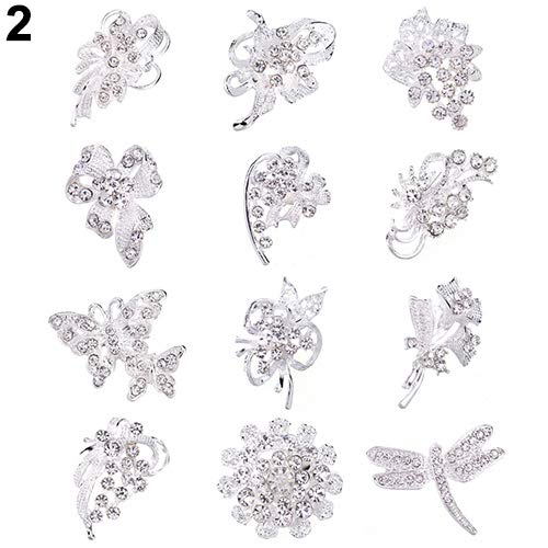 Bouquet Pin Brooch Floral - Holrea 12Pcs Rhinestone Crystal Flower Brooches Pins Set DIY Wedding Bouquet Broaches Kit Rhinestone Hollow Flower Butterfly Bridal Scarf Lapel Brooch Pins for Women Girls Silver