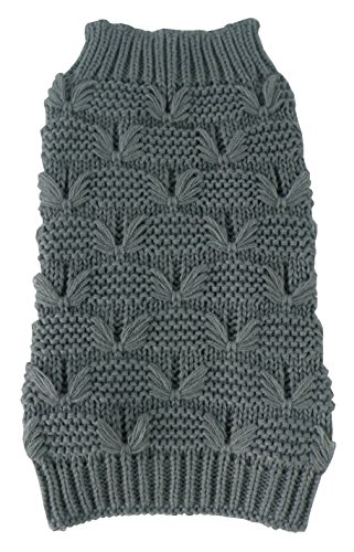(PET LIFE 'Butterfly Stitched' Heavy Cable Knitted Fashion Designer Turtle Neck Pet Dog Sweater, Small, Dark Grey)