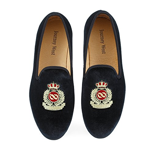 Men's Vintage Velvet Embroidery Noble Loafer Men Shoes Slip-on Loafer Smoking Slipper US 9