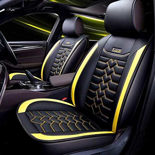 GZTYLQQ Car Seat Covers Set Leather, Universal 5 Seats Seat Cushions for the front seats and rear seat Seats (Color : Yellow): Amazon.co.uk: Sports & Outdoors