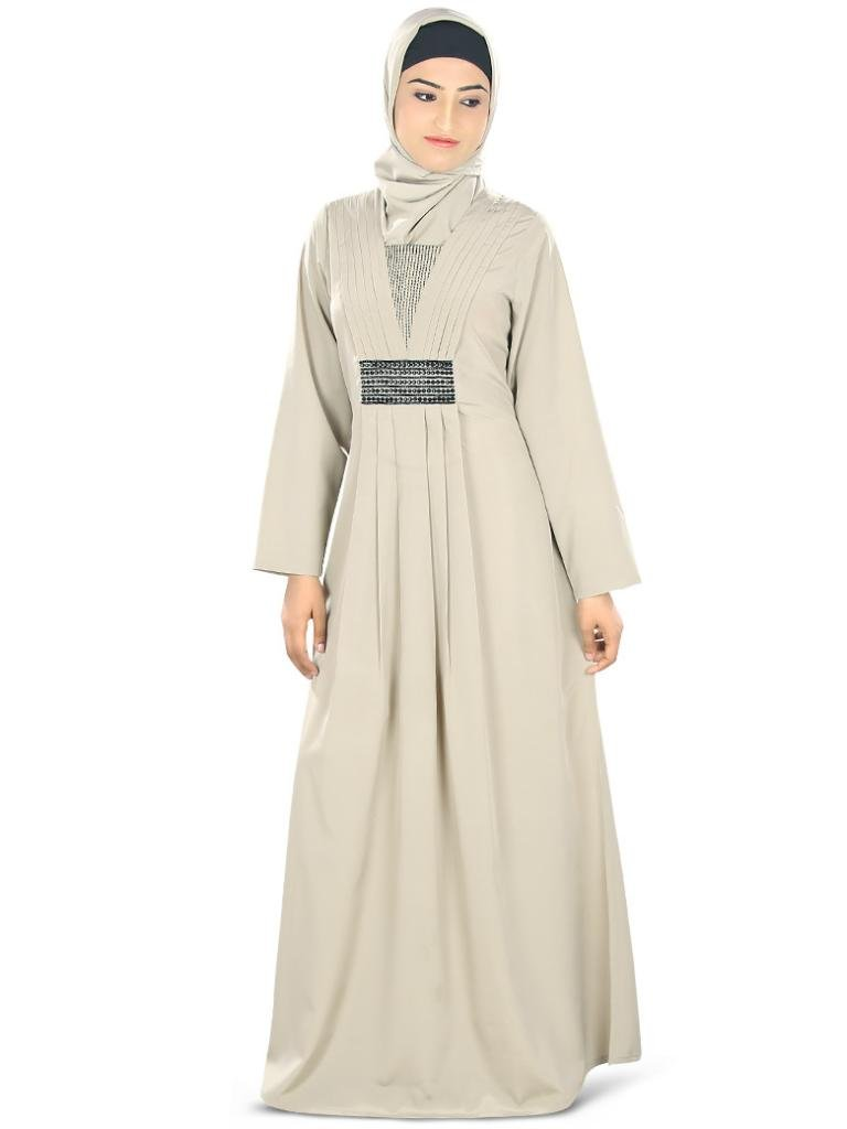 MyBatua Women's Pretty Look Crepe Nashitah Abaya for any Occasion 3XL Warm Grey