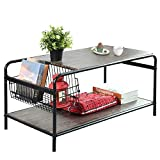 Rustic-Coffee Tables with Storage, Living-Room Coffee Table NETE11 Industrial Metal and Wood Shelf Vintage Sofa-End Side Tables Cocktail Telephone Table Space Saving Organizer