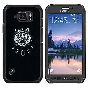 Tigre Negro Arte antiguo patrón de cuero- Metal de aluminio y de plástico duro Caja del teléfono - Negro - Samsung Galaxy S6 active / SM-G890 (NOT S6)