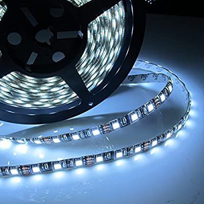 Led World Black PCB 16.4ft 5M 5050 SMD 300 Leds Flexible Strip Lights Cool White Waterproof DC12V