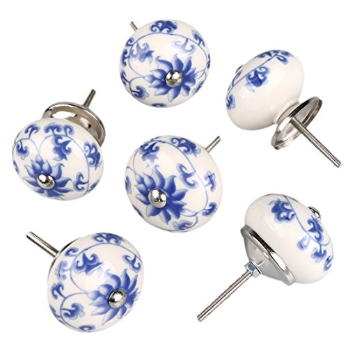 uxcell 6 Pieces Vintage Shabby Knobs Floral Hand Painted Ceramic Pumpkin Cupboard Wardrobe Cabinet Drawer Door Handles Pulls Knob, Blue and White Flower