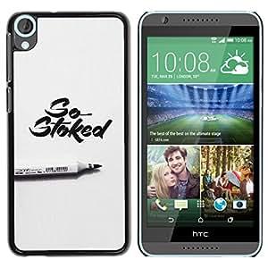 GOODTHINGS Funda Imagen Diseño Carcasa Tapa Trasera Negro Cover Skin Case para HTC Desire 820 - marcador Stoked gris caligrafía pluma