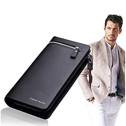 c2b5b404ad3b Amazon.com: Bifold Men Wallet Leather Purse Business Long Brand ...