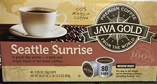 Java Gold Seattle Sunrise Medium Roast Coffee  For Use In All Single Serve Brewing Systems  Including Keurig 2 0  80 Ct K Cup