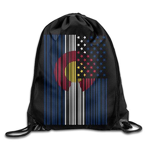 Drawstring Bag Bar Coded USA Colorado Flag Men & Women Gym Sport Yoga Shoulder Bags from SG0HGO