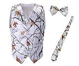 iLovewedding Mens Camouflage Vests for Wedding Groom Camo Prom Vest (XX-Large, White Camo 3Pack)
