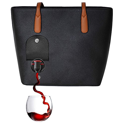 - PortoVino Wine Purse (Black) - Fashionable purse with Hidden, Insulated Compartment, Holds 2 bottles of Wine!