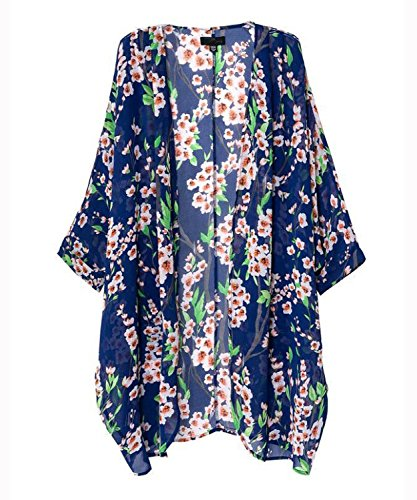 Mixmax Vintage Women Floral Print Long Loose Kimono Cardigan Blouses Beach Cover up (M, Navy Blue)