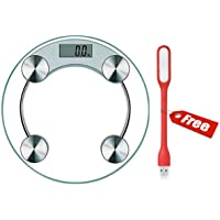 Digital Weight Machine Made Of 8mm Toughened Glass With StepOn Technology, Battery Included, Free USB LED Light