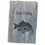 3D Rose Gone Fishing White Wash Wood Look Beach Theme Art Hand/Sports Towel, 15 x 22, Multicolor