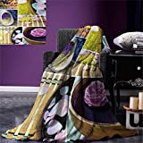Spa Digital Printing Blanket Spa Organic Cosmetics Theme Wooden Bowl Petals Lavender Candle Pebbles Therapy Oil Summer Quilt Comforter 80''x60'' Purple Brown